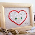 Heart embroidery pattern framed embroidery
