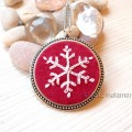 hand embroidered snowflake pendant and necklace