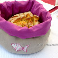 handmade linen bread basket with fish motif